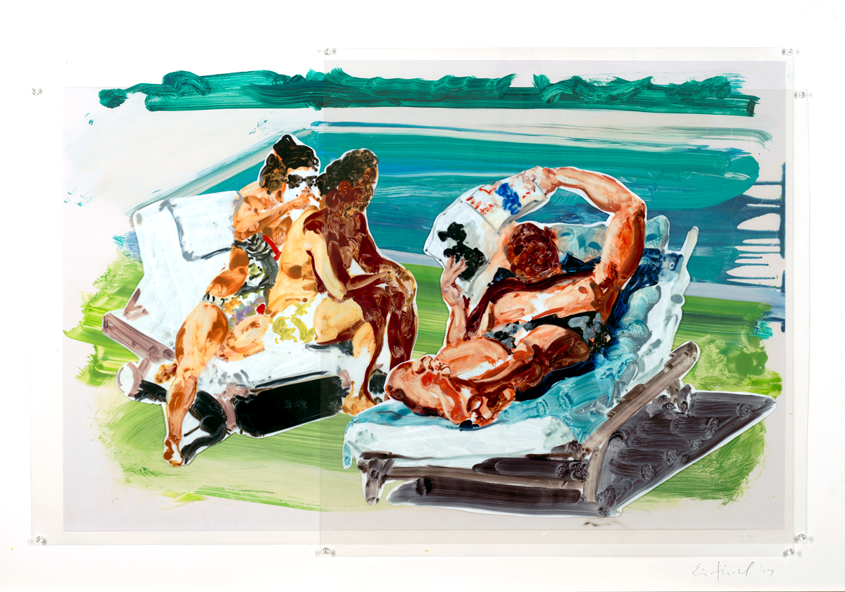 "Untitled (Poolside Loungers), Eric Fischl, 2018, Pinned Mylar, 65"" x 90.5"""